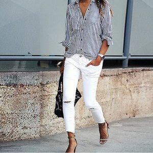 Tops - ❤️Blue & white striped button down shirt M